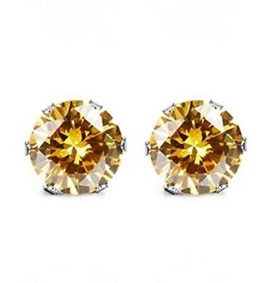 3mm CZ stud earrings, Yellow Topaz colored November birthstone, stainless steel ()