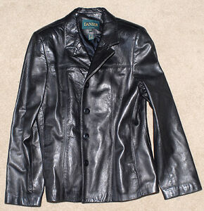 Danier black leather jacket, women's size large
