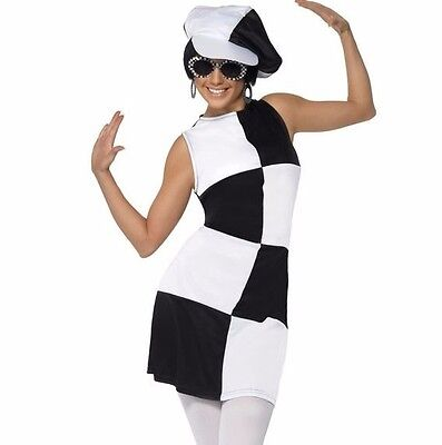 Womens Mod Costume Fancy Dress Black White Squares Halloween 60s Outfit Adult - Black Outfit Halloween
