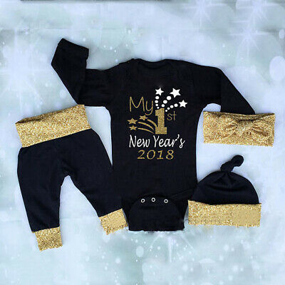 Newborn Baby Boys Girls Christmas Clothes Top Romper Pants Hat 3PCS Outfits 0-2T](Girls Christmas Hat)