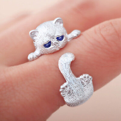 Cat Silver Plated Ring (990 Silver Plated Lovely Cat Kitten Women Jewelry Opening Adjustable Ring Retro )