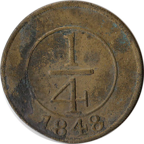"1848 Dominican Republic 1/4 Real Coin Crosslet ""4"" KM#2"