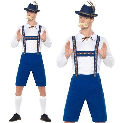 Herren Bayrisch Oktoberfest Lederhosen Kostüm Blau von - Blaue Lederhosen Kostüm