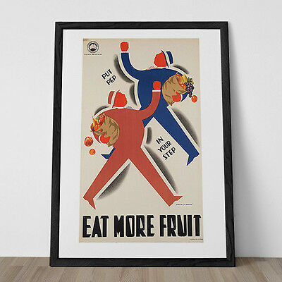 RETRO KITCHEN POSTER Vintage Art Deco Poster Fruit Print Ribba Giclee Eat More F
