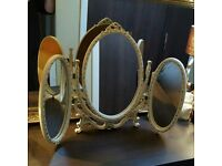 Vintage French style shabby chic triple dressing table mirror - white/gold
