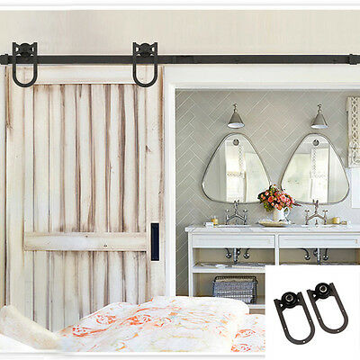Erfect 6.6 FT Coffee American Style Steel Barn Door Sliding Hardware Track Set
