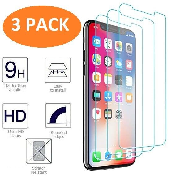 iPhone X XS Screen Protector 3-Pack HD Hardness Tempered Glass for iPhone X / XS Cell Phone Accessories