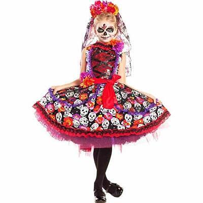 Party King Lady of the Dead Sugar Skull Dress Childrens Halloween Costume - Sugar Skull Lady Kostüm