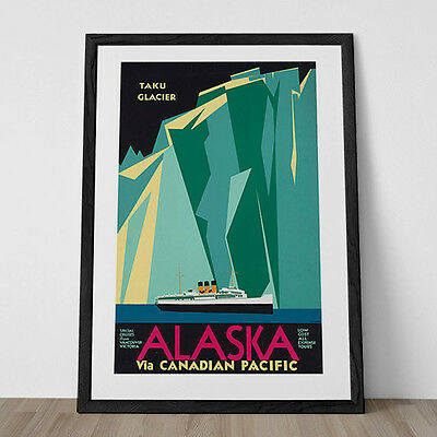 ALASKA Travel Poster Art Deco Print USA TRAVEL Print Art Deco Poster Nautical Po
