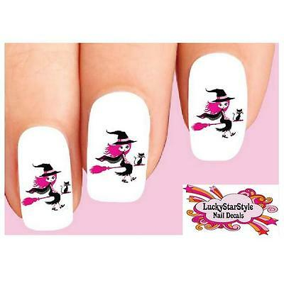 Pink And Black Halloween Nails (Waterslide Nail Decals Set of 20 - Halloween Pink Witch with Black)