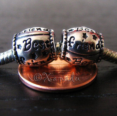 2PCs Best Friend European Charm Beads For Large Hole Style Charm