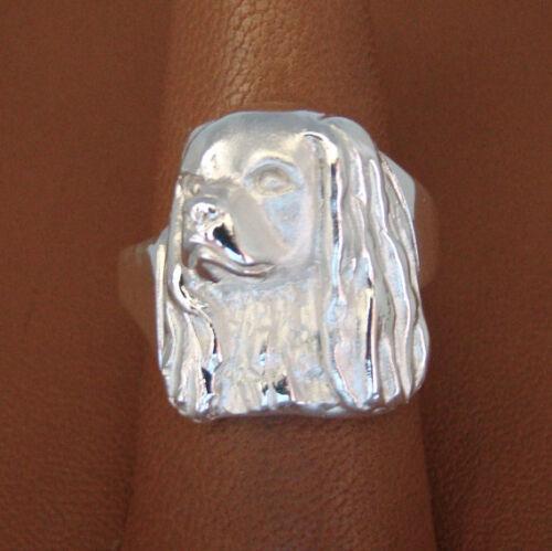 Sterling Silver Cavalier King Charles Spaniel Head Study Ring