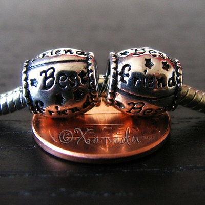 2PCs Best Friends Large Hole Charm Beads For All European Style Charm