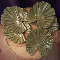 stunning brand new large handpainted tropical leaf plate set
