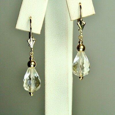 14k solid yellow gold 12x8mm briolette natural White Quartz earrings 2.6 grams ()