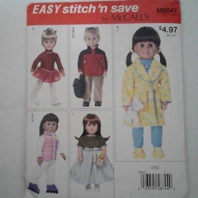 "McCall's M9047 18""Doll Jacket,Pants,Backpack,Vest,Skating Dress,Robe,PJ,Slippers"