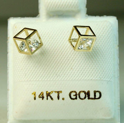 14k Modern Style Gold Earrings (14k solid yellow gold modern Cubic, cage style small earrings screw backs  )