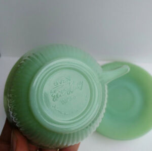 Vintage 1950's Green Fire King Cup and Saucer London Ontario image 5