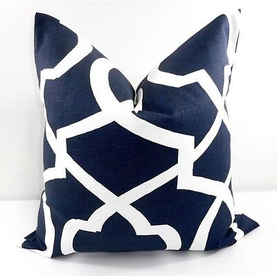 Navy Blue pillow cover. Morrow  Blue and White. Decor. Cotton. Select - Navy Blue Decor