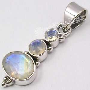 925 Silver NATURAL RAINBOW MOONSTONE New Pendant 3.5CM