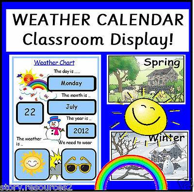 WEATHER CHART Calendar Teaching Resources Class Display Childminder EYFS  KS1  2