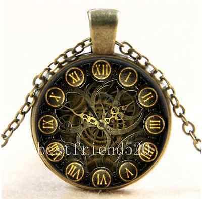 Vintage Steampunk World Clock Cabochon Glass Bronze Chain Pendant Necklace ()