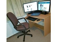Computer desk with keyboard tray and chair