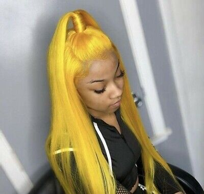 Cheap Womens Wigs (20'' Long Straight Yellow Lace Front Wigs Synthetic Nature Straight Cheap)