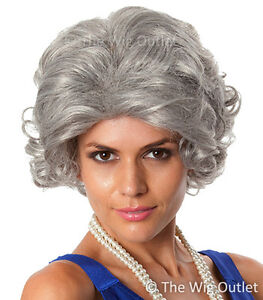 DELUXE GREY QUEEN OLD LADY WIG Nanna Granny Grandma Fancy Dress Costume Party