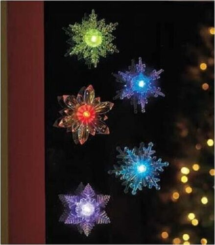 NEW 5 Pc Battery Operated Color Changing Attachable Lighted Snowflakes Christmas