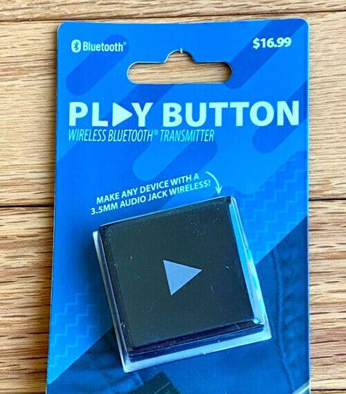 PLAY BUTTON Wireless Bluetooth Transmitter Make 3.5mm Audio Jacks WIRELESS ~ New