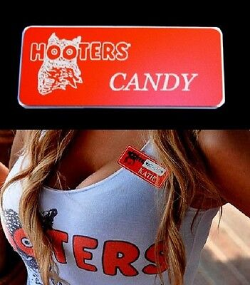 Hooters Girl Uniform Candy Name Tag Pin Pinback Celebrity Sexy lingerie xtra