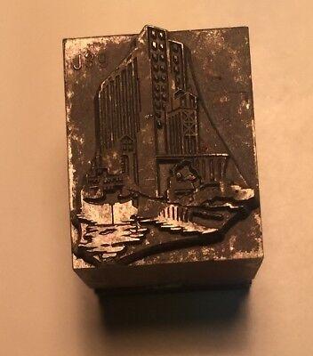 Vintage Printer Wood Metal Print Block Letterpress Type Building