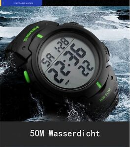 Herrenuhr Armbanduhr LCD Digital 50M wasserdicht Analog Sportuhr SKMEI WQ