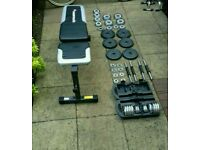 Quality fitness bench and set of weights for any gym enthusiasts. Dropped price from £100 to £75.
