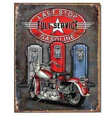 Last Stop Gas Metal Tin Sign Motorcycle Garage Harley Shop Wall Decor