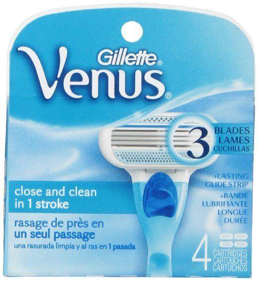 Gillette Venus Women's Original 3 Blade Razor Refills, 4 Cou