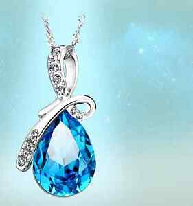 925 Sterling Silver Swarovski Element Crystal Water Drop Pendant Necklace Mother