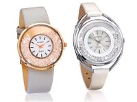 Taupe & Rose Gold or White & Silver Ladies Watches