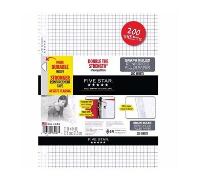 Five Star Graph Ruled Filler Paper Reinforced 200 Count White