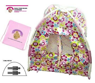 Teddy Bears Dolls Flower Tent fits 2 Build a Bear Teddies Plus FREE Storage Bag