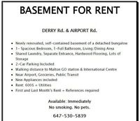 Malton Basement Rental