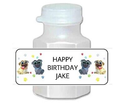 30 Personalized Puppy Dog Pals, Bingo and Rolly Birthday Party Bubble Labels  - Puppy Party Supplies