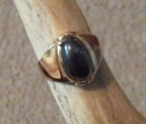 Mens gold ring oval Cabachon Hematite Stone 10 K yellow  13 mm