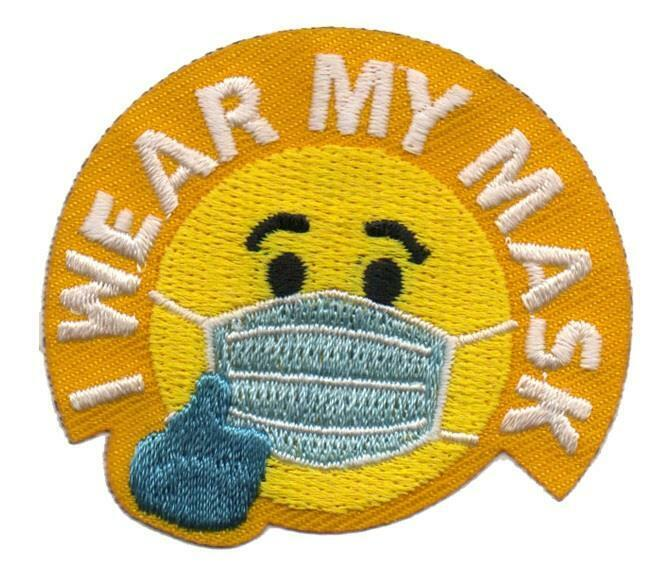 Girl Boy I WEAR MY MASK Fun Patches Crests Badges SCOUT GUIDE face To School Out