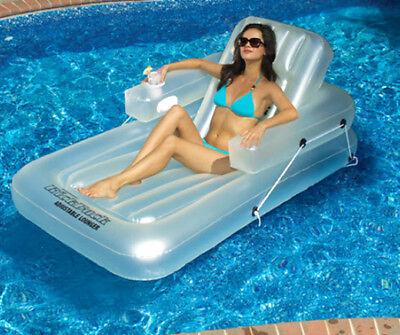 Swimline 90521 Kickback Swimming Pool Inflatable Lounger Adjustable Float, White