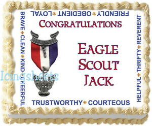 Boy Scout Eagle Court of Honor Edible cake top Icing sheet 1/2 sheet 7