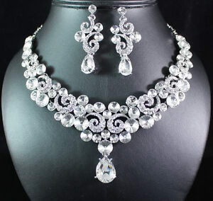 SEXY CLEAR AUSTRIAN RHINESTONE BIB NECKLACE EARRINGS SET BRIDAL WEDDING N1661C