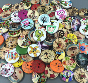 FREE 100pcs Mixed pattern Wood Buttons 2 Holes Sewing 20mm  Craft Lots
