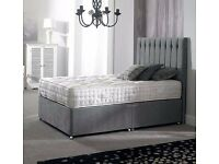 "**Free London Delivery** **GREY DOUBLE DIVAN BED WITH 12"" THICK SUPER ROYALTY MATTRESS + HEADBOARD"
